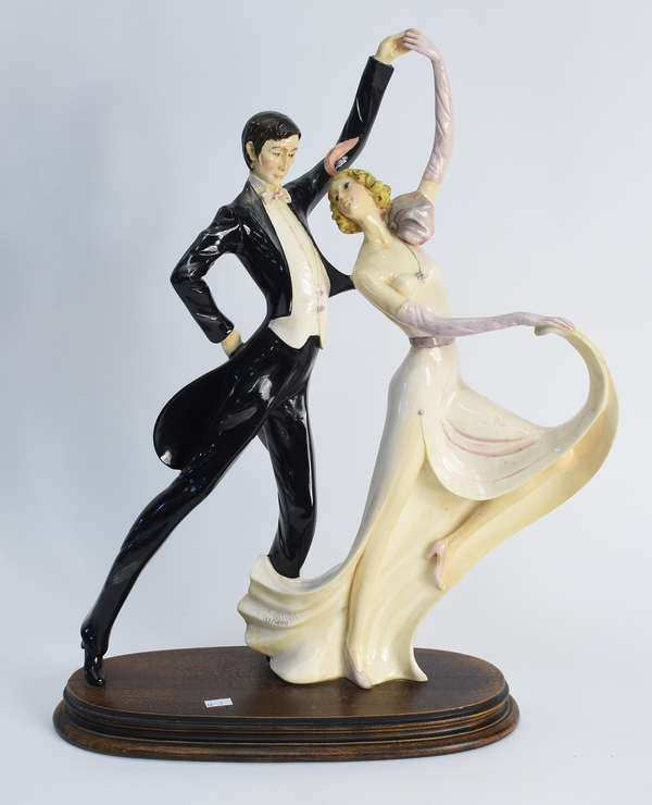 "Figural porcelain group of dancers, on wooden base, 21""H, signed illegible, 122/3500 (66-1)"