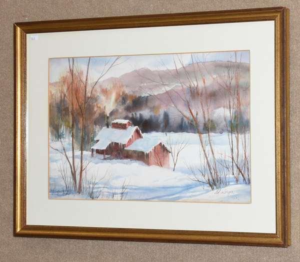 "Watercolor of a Vermont winter scene, signed Werger, 14"" x 21"" sight (133-3)"