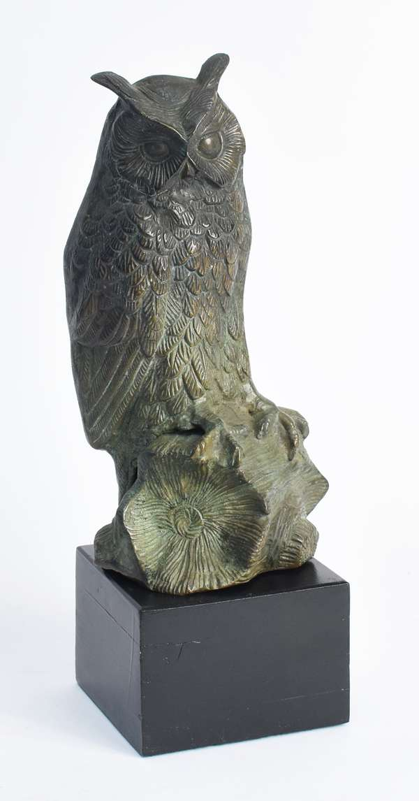 "Bronze owl on wood base, 13"" overall height (105-2)"