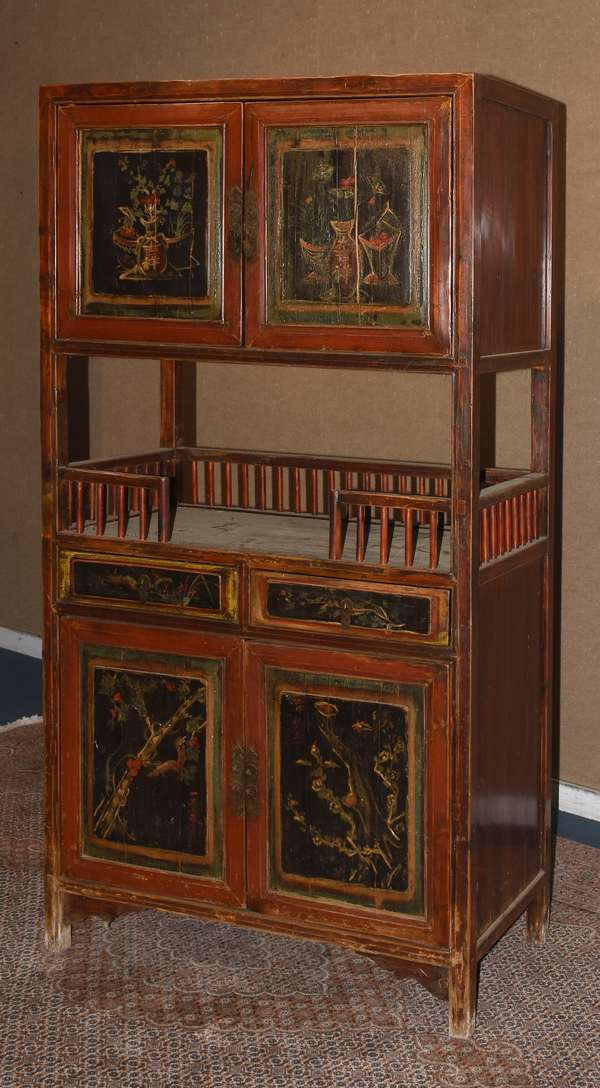 "Chinese lacquer and painted cabinet, with doors and drawers and center gallery,  36""H x 68""H x 19""D (17-1)"