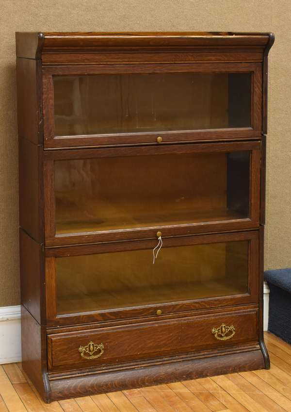 "Three section oak stacking bookcase with lower drawer, 34.5""W x 49""H x 14""D (as is, cracked glass) 	(133-41)"