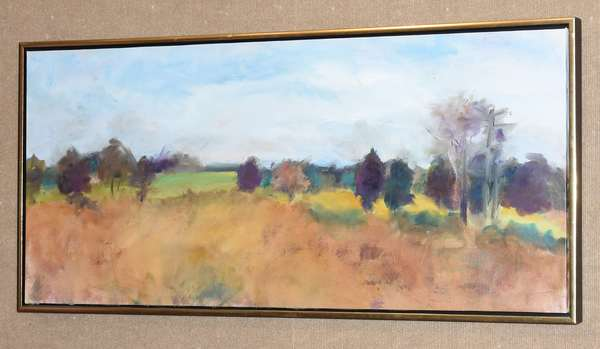 "Contemporary New England landscape, oil on canvas, 20.5"" x 45"" (28-5)"