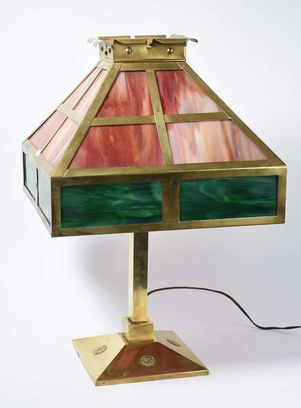 "Art Deco table lamp w/leaded glass shade, B & H, 22""H. (48-376)"