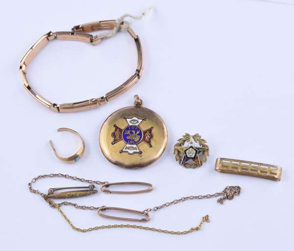 Small group of antique jewelry, 10 and some 14k (81-11)