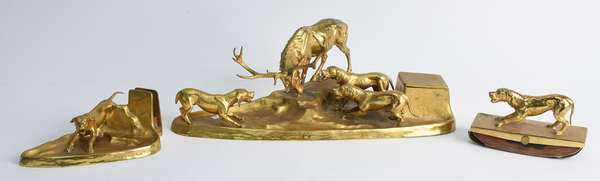 "Three piece dore bronze desk or ink set stag motif, 17""L main piece (105-3)"