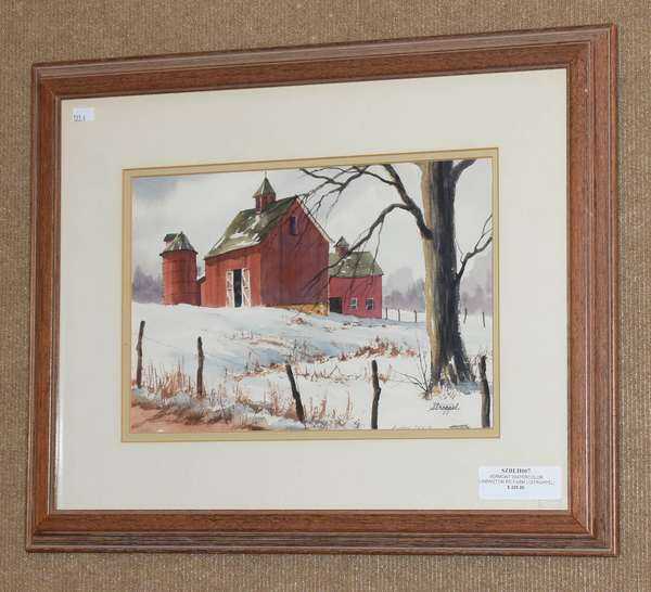 "Watercolor, Vermont red barn in winter, signed Stroppel,  9"" x 13"" (133-4)"