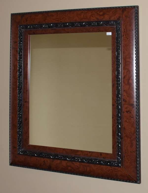"Modern mirror with carved wooden frame, 28"" x 24"" (673-2)"