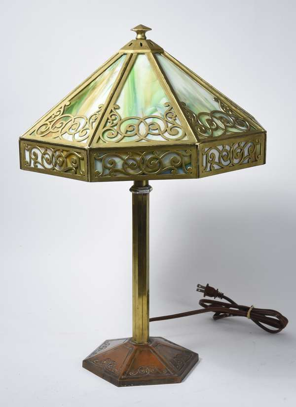 "Art Deco table lamp, brass w/leaded glass shade, 21""H. (48-377)"