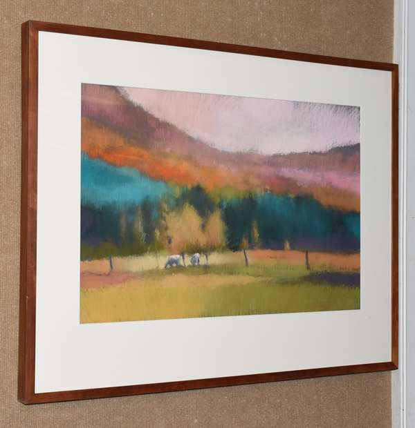 "New England pastel titled ""Hillside Cows"", 17"" x 36"" (28-4)"