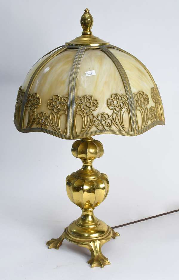 "Art Nouveau table lamp brass base with slag panel shade, base signed Wm Jackson Co. NY, 23""H x 14""d shade (105-6)"