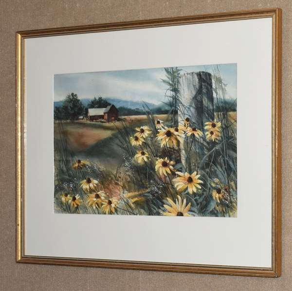 "Watercolor, New England farm scene with flowers, 14"" x 22""	(28-6)"