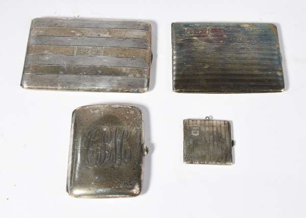 "Four sterling silver cigarette cases, 2"" - 4.5"", approx. 10.5 t.oz (5-413)"