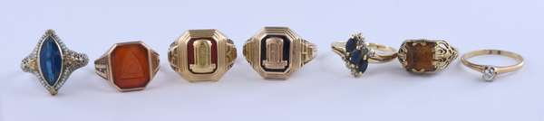 Eight gold rings with stones, 3 are in 14k, weigh 6.3 grams, and 5 set in 10K weighing 17.4 grams (81-13)