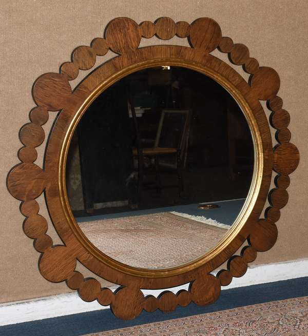 "Decorative circular designer mirror, by Keith Fritz, signature on reverse, Dia. 40""(28-3)"