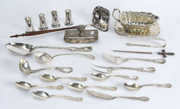 Grouping of sterling silver pcs, including gravy boat, serving spoons, Ann Bateman sugar tongs, 4 salts, 21 pcs., approx. 32.5 (101-3)
