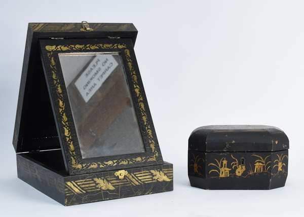 Japanese laquerware tea caddy along with a stenciled travelling mirror, 2 pcs. (101-6)