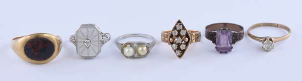 Six rings, 2- 14k with small diamonds, blood stone in 14k, platinum with pearls and 2 others (81-14)