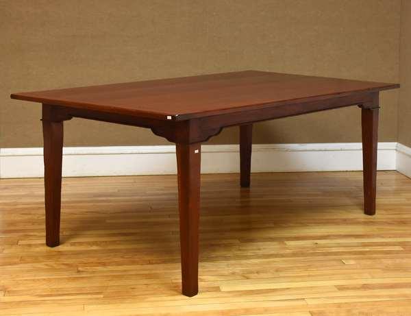 "Custom cherry farm table with breadboard end top on a sturdy block leg, 72""L x 42""W x 30""H (133-13)"