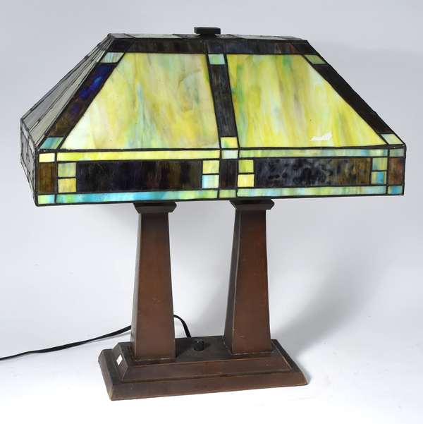 "Mission style prairie lamp with slag glass panel shade, 33""H (133-15)"