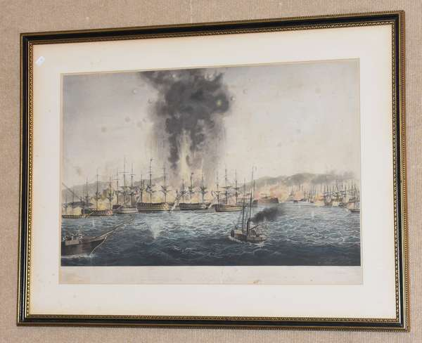 "19th C. naval battle scene print, ""The Bombardment and Capture of St. Jean D'Arc"" 16"" x 25"" (217-313)"