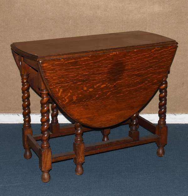 "Oak barley twist gate leg table with drop leaves on stretcher base, swing leg support, 36""L x 50""L with leaves extended, 29""H (217-306)"