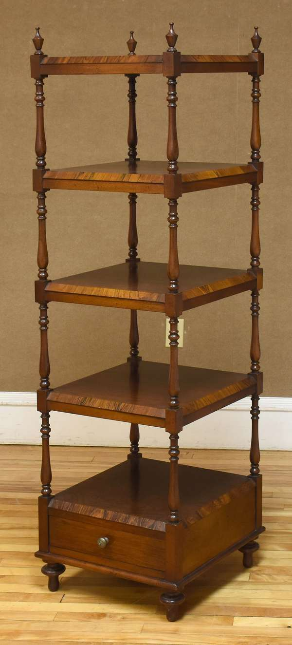 "Custom rosewood Regency style what-not, four tier, with lower drawer, 62""H 18""W x 18""D (133-17)"