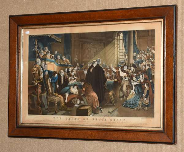"Colored lithograph ""The Trial of Effie Deans"", 14"" x 23 "" (35-7)"