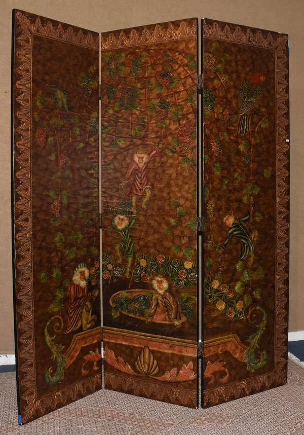 "Modern three panel folding screen with tropical motifs, 84""H. (105-13)"