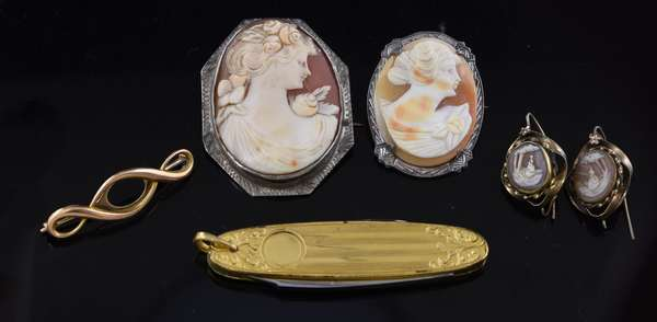Two cameo pins in sterling with earrings along with a 14k gold pin and pen knife (81-23)