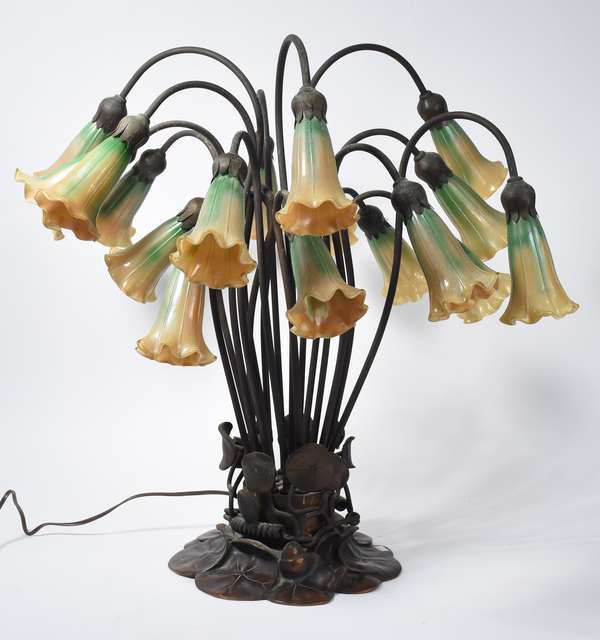 "Tiffany-style lily lamp, glass bell flower shades with bronze lily pad base, 24""H (133-44)"