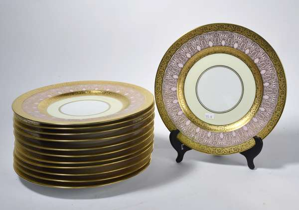 "Set of 12 La Moque France pink and gilded dinner plates, 10.75""Dia. (105-16)"