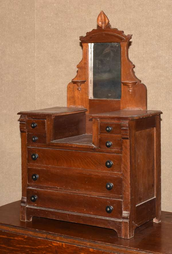 "Walnut drop-center doll's chest with mirror, 18.5""W x 31""H x 9""D (562-15)"