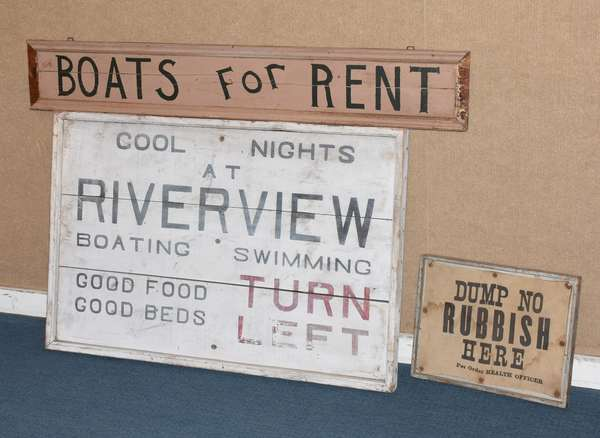 "Three wooden signs including  ""Dump No Rubbish"", ""Boats For Rent"" and other, various sizes (562-17)"