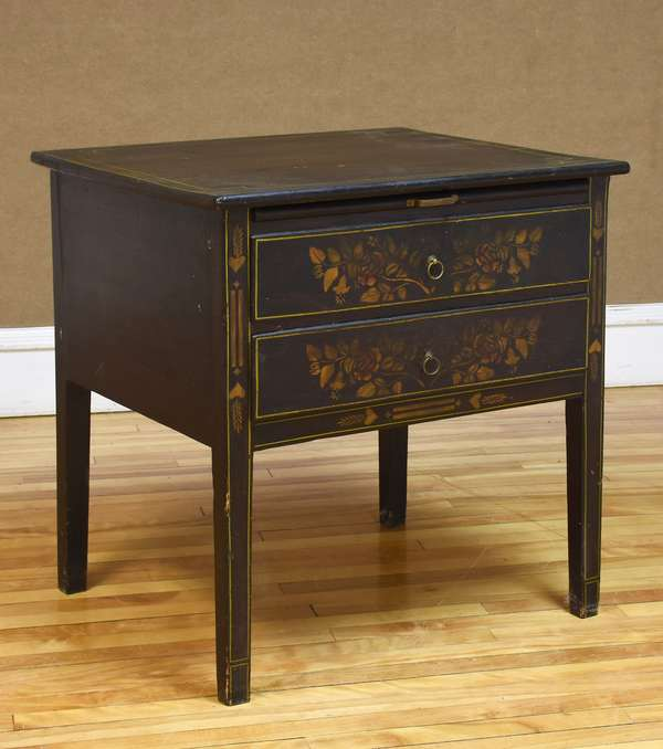 "Stencil decorated two-drawer work table with pull-out slide, 29""W x 30""H x 25""D(133-18)"
