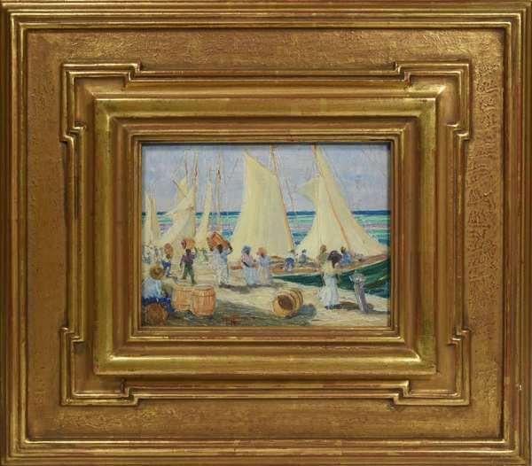 "Harry Hoffman (Connecticut, 1871-1964) oil on paper board, harbor scene with workers loading barrels onto sailboats. Behind glass, in a fine gilded wooden frame. Signed lower center. Ca. 1920s/1930s. Board: 6"" x 8"". With frame: 14.75"" x 16.75"". 4.5 lbs. Condition: not examined out of frame. Some losses to reverse of paperboard. Painted surface appears clean and untouched."