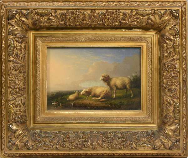 "Francois Vandeverdonck (Belgium, Netherlands, 1848-?) oil on board, two sheep in field with lamb and ducks. Behind glass, in an ornate gilded wooden period frame. Signed lower center ""F. Vandeverdonck, 1885"". Inscription by artist on reverse. Board: 7.5"" x 10.5"", with frame: 17"" x 20"". 9.5 lbs. Condition: some gilding loss on corners of frame. Surface dirty, not examined under blacklight."