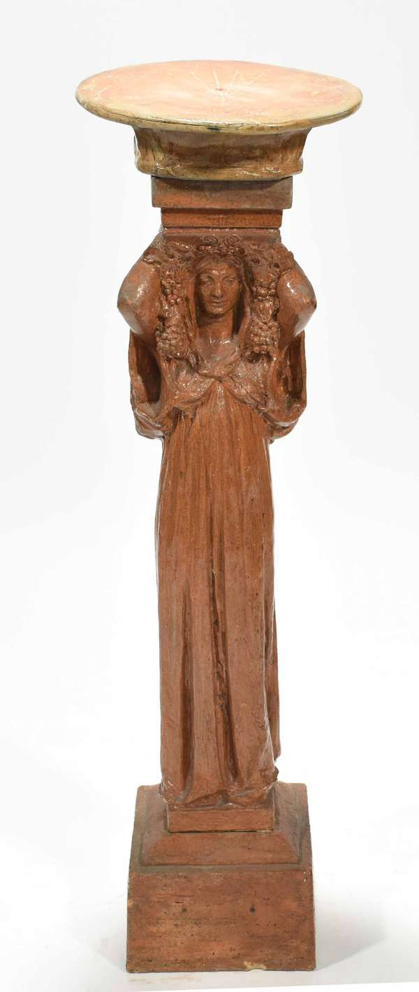 "Annetta St. Gaudens three-part terracotta sundial with figural Classical maiden support. Signed and dated on reverse of support ASG, MCMXXX (1930). 41.5""H x 12"" dia. of dial. Condition: reglued chip to sundial face. Firing cracks visible throughout."
