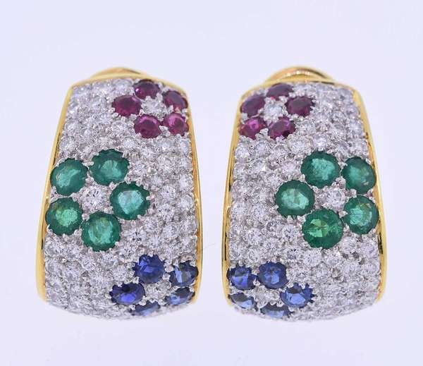 18K yellow gold clip earrings (match to lot 16) set with approximately 3.0 ct. tw. round brilliant cut diamonds, F-G color, VS clarity,  2.0 ct. tw. emeralds, rubies and sapphires. Approximately 1 inch long. 17.3 grams. Very good condition.