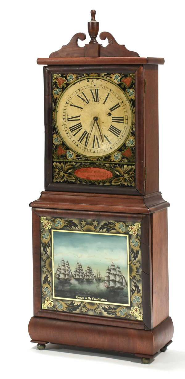 "Federal Aaron Willard (Boston, MA) shelf clock with eglomise panels, top panel with lyre motif and signed ""Aaron Willard Boston."" Bottom panel with naval scene titled ""Escape of the Constitution,"" an event from the War of 1812. 35""H x 13""W x 6""D. Condition: splitting, and repairs to edge veneer, incl. lower right. Parts of crest reglued, appears to have the original glass in tablets."