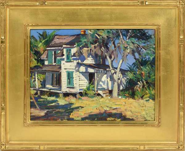 "Stanley W. Woodward (MA, 1890-1970), oil on artist's board, white house with green shutters in Sarasota, Florida, signed lower left. Board: 12"" x 16""; with frame: 19"" x 23."" 4 lbs. Condition: excellent, no damage to surface."