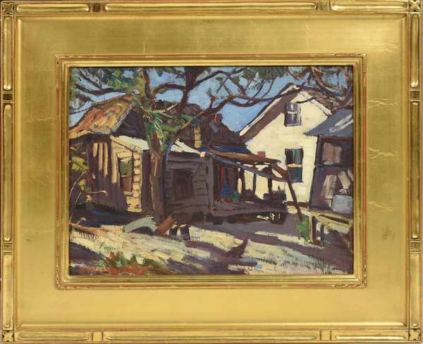 "Stanley W. Woodward (MA, 1890-1970), oil on artist's board, houses in Sarasota, Florida, signed lower left. Board: 12"" x 16"", with frame: 19"" x 23."" 4 lbs. Condition: excellent, no damage to surface."