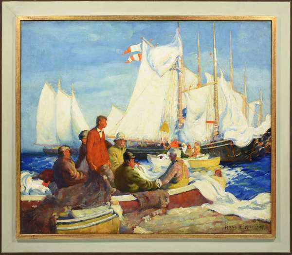 "Oil on canvas by Ross E. Moffett (1888-1971), ships in harbor, signed lower right Ross E. Moffett. Excellent example with vibrant colors. Provenance: from an old Cornish Colony family purchased in the 1950s from Boris Mirski Gallery, Boston MA, previously appraised by Vose Galleries. Stretcher: 34"" x 40"" with frame: 40.75"" x 46.5"". Condition: lined, craquelure. Under blacklight, some inpainting visible, mostly in sky and sails, to stabilize/cover craquelure. None in figures or around signature."