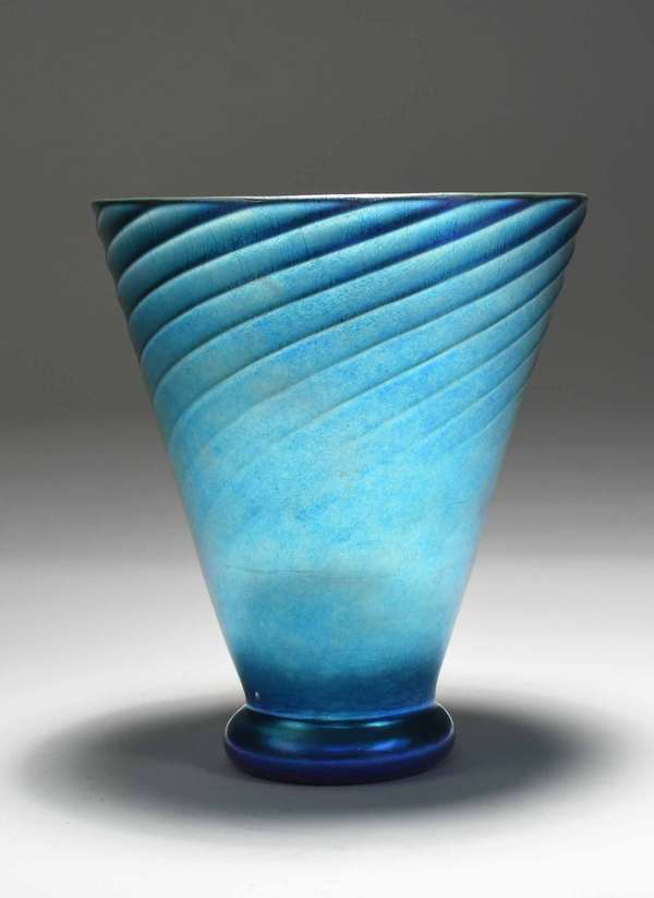 "Steuben blue Aurene footed vase with spiral design, signed on bottom ""Steuben Aurene 6171."" 9""H x 8"" dia. 3 lbs. Condition: excellent, no chips or cracks"