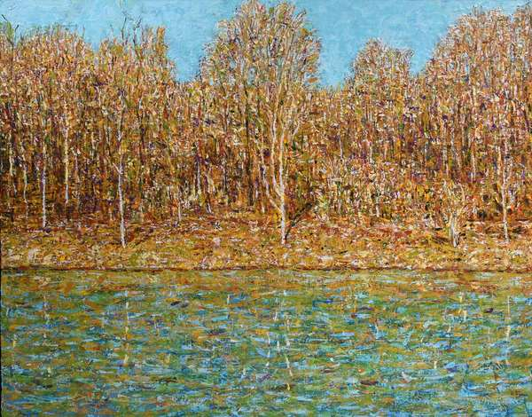 "Brent McIntosh (Canada, b. 1959) oil on canvas, autumn forest by lake, signed lower right, and dated on reverse, 1998. Stretcher: 37"" x 45"": with frame: 41.75"" x 49.75"" approx 16.5 lbs. Condition: excellent."