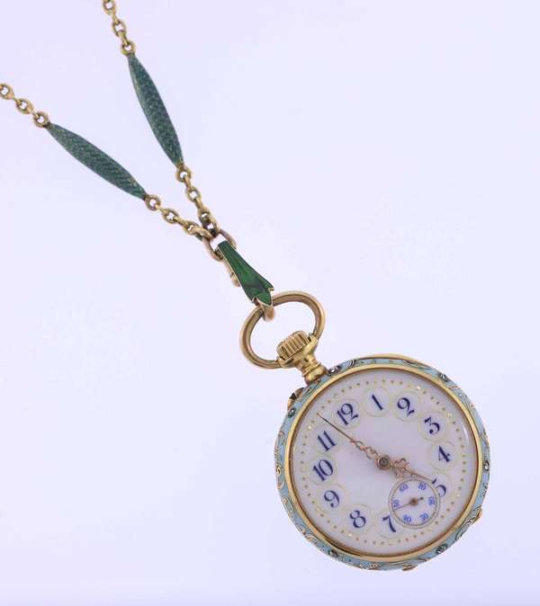 "Golay Leresche and Fils 18K gold watch and chain, ladies size, 1.2"" D, open face, reverse with enamel and diamond set decoration, ser. #22927, matching 18k, enamel and pearl chain 22""L. overall weight 38 grams. Condition, back of watch set with 12 rose cut diamonds and the side of the case with 6 diamonds, the enamel on watch in good condition no loss on, dial and crystal also very good cond., enamel on chain also very good except for one section that clips to watch that panel enamel is repaired."