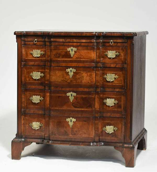 "Small English block front chest with burl walnut drawer fronts and brush slides, with four drawers, canted reeded corners, and line and banded inlay, on bracket feet. Ca. 1880, 29.75""L x 18.5""D x 30.5""H. Condition: old refinish with a light polish. No cracks or losses."