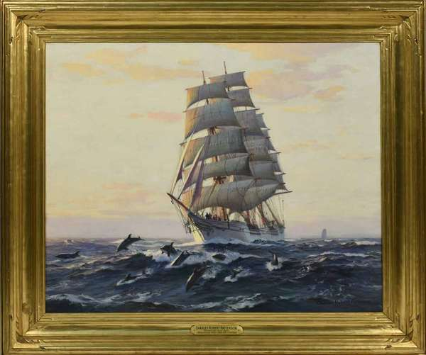 "Charles Robert Patterson (New York, 1878-1978) oil on canvas, ""The American Ship Abner Coburn,"" titled on plaque, signed lower right, with Quester Gallery label on reverse, in a gilded wooden Newcomb-Macklin frame. Stretcher: 25"" x 30""; Frame outside dimensions: 32.5"" x 37.5""; Frame interior dimensions: 25.25 x 30.5"". Condition: lined, some slight craquelure. (The Abner Coburn was built for the NY - Orient Trade and sailed this route from 1882-1900. In 1900 she was sold to CA Shipping Company and for them, she sailed for the next 29 years in the Pacific and Arctic seas. In 1912, she was sold to San Francisco ship brokers and sailed between CA and Alaska working in the salmon trade until about 1925. She was scrapped in Edmonds, WA in 1929)"