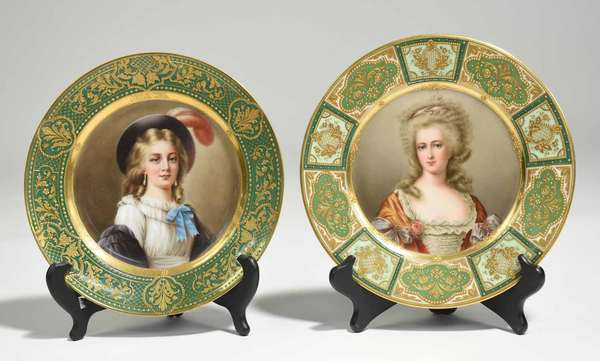 "Two Dresden cabinet plates, portrait of ""Vigée Le Brun"", with green and gold border. Back titled and stamped Dresden. 9.5"" dia., other example a portrait of ""Madame de Montesson"" with dark and light green and gold border. 9.5"" dia. 2 lbs. Condition: Some wear to gilding on ""Vigee."" One gold dot missing on ""Montesson."""