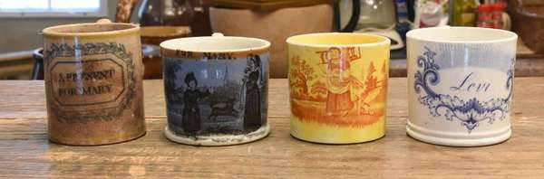Four 19th C. children's mugs: blue and white decorated inscribed