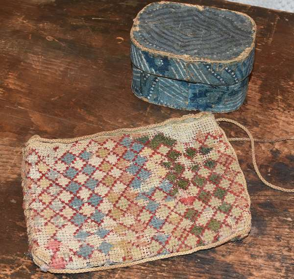 "Early flame stitch purse, 5"" x 7"", with a 19th C. miniature blue hat box, 2.5""H. x 4.25""L. Condition: both with wear and losses"